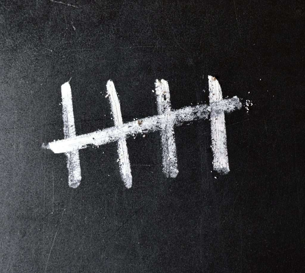 5 Tally Marks representing the 5 second rule