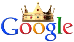 google logo with king's crown, google is king