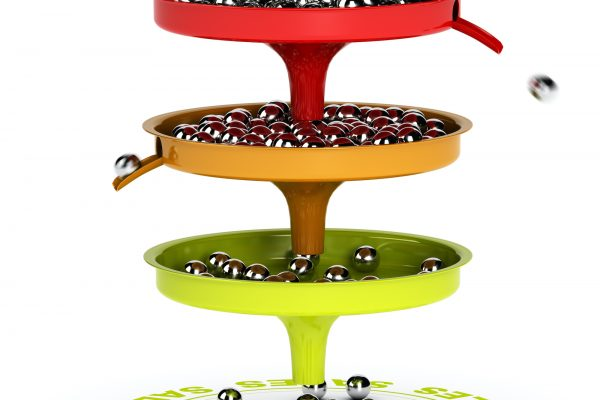 Sales funnel with three levels. Chrome balls and sales target. 3D render over white background suitable for business conversion from leads to customers