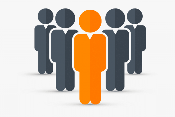 one head person graphic in orange flanked by 4 people in gray, representing different types of people to hire